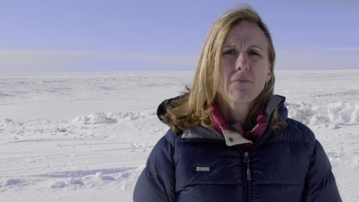 woman in barren arctic landscape looks at camera